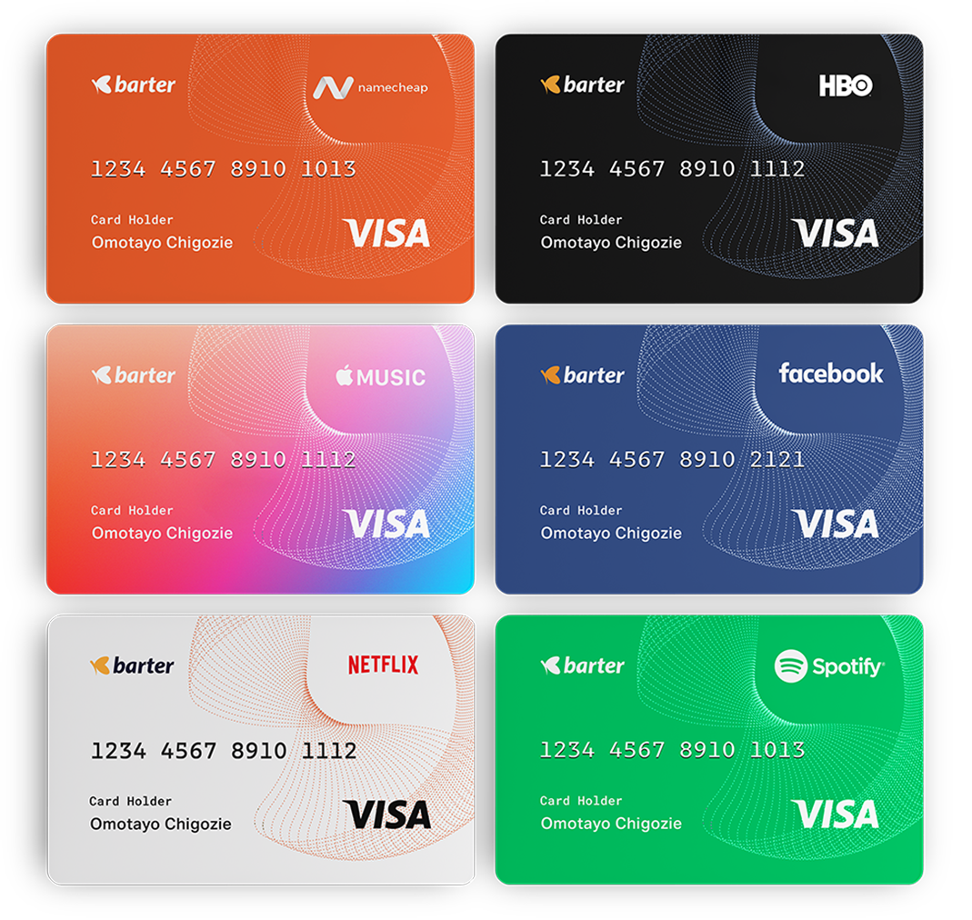 barter virtual card work across the following sites: